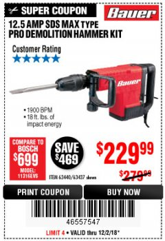 Harbor Freight Coupon BAUER 12.5 AMP SDS MAX TYPE PRO HAMMER KIT Lot No. 63440/63437 Expired: 12/2/18 - $229.99