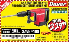 Harbor Freight Coupon BAUER 12.5 AMP SDS MAX TYPE PRO HAMMER KIT Lot No. 63440/63437 Expired: 1/12/19 - $229.99