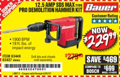 Harbor Freight Coupon BAUER 12.5 AMP SDS MAX TYPE PRO HAMMER KIT Lot No. 63440/63437 Expired: 4/20/19 - $229.99