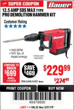 Harbor Freight Coupon BAUER 12.5 AMP SDS MAX TYPE PRO HAMMER KIT Lot No. 63440/63437 Expired: 3/31/19 - $229.99