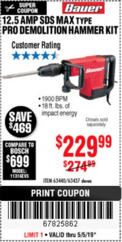 Harbor Freight Coupon BAUER 12.5 AMP SDS MAX TYPE PRO HAMMER KIT Lot No. 63440/63437 Expired: 5/5/19 - $229.99