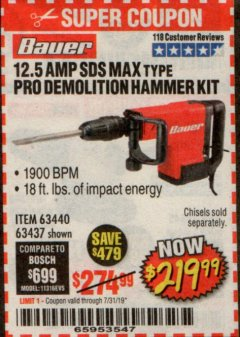 Harbor Freight Coupon BAUER 12.5 AMP SDS MAX TYPE PRO HAMMER KIT Lot No. 63440/63437 Expired: 7/31/19 - $219.99