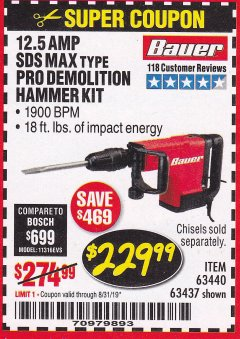 Harbor Freight Coupon BAUER 12.5 AMP SDS MAX TYPE PRO HAMMER KIT Lot No. 63440/63437 Expired: 8/31/19 - $229.99