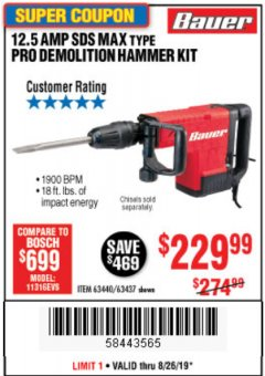 Harbor Freight Coupon BAUER 12.5 AMP SDS MAX TYPE PRO HAMMER KIT Lot No. 63440/63437 Expired: 8/26/19 - $229.99