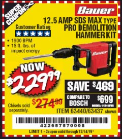 Harbor Freight Coupon BAUER 12.5 AMP SDS MAX TYPE PRO HAMMER KIT Lot No. 63440/63437 Expired: 12/14/19 - $229.99