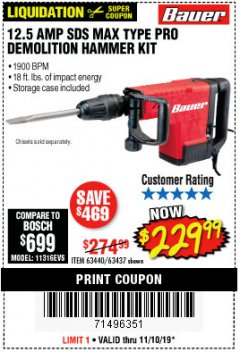 Harbor Freight Coupon BAUER 12.5 AMP SDS MAX TYPE PRO HAMMER KIT Lot No. 63440/63437 Expired: 11/10/19 - $229.99