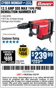 Harbor Freight Coupon BAUER 12.5 AMP SDS MAX TYPE PRO HAMMER KIT Lot No. 63440/63437 Expired: 12/1/19 - $239.99