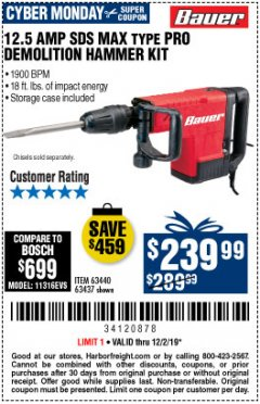 Harbor Freight Coupon BAUER 12.5 AMP SDS MAX TYPE PRO HAMMER KIT Lot No. 63440/63437 Expired: 12/2/19 - $239.99