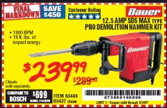 Harbor Freight Coupon BAUER 12.5 AMP SDS MAX TYPE PRO HAMMER KIT Lot No. 63440/63437 Valid Thru: 3/7/20 - $239.99