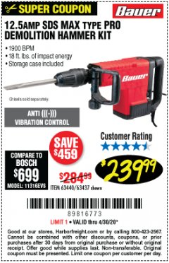 Harbor Freight Coupon BAUER 12.5 AMP SDS MAX TYPE PRO HAMMER KIT Lot No. 63440/63437 Valid Thru: 6/30/20 - $239.99