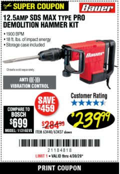 Harbor Freight Coupon BAUER 12.5 AMP SDS MAX TYPE PRO HAMMER KIT Lot No. 63440/63437 EXPIRES: 6/30/20 - $239.99