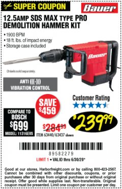 Harbor Freight Coupon BAUER 12.5 AMP SDS MAX TYPE PRO HAMMER KIT Lot No. 63440/63437 Valid: 4/10/20 - 6/30/20 - $239.99