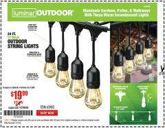 Harbor Freight Coupon 24 FT., 18 BULB, 12 SOCKET OUTDOOR STRING LIGHTS Lot No. 64486/63843/64739 Expired: 1/31/18 - $19.99