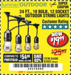 Harbor Freight Coupon 24 FT., 18 BULB, 12 SOCKET OUTDOOR STRING LIGHTS Lot No. 64486/63843/64739 Expired: 10/1/18 - $19.99