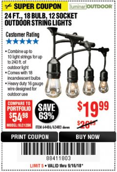 Harbor Freight Coupon 24 FT., 18 BULB, 12 SOCKET OUTDOOR STRING LIGHTS Lot No. 64486/63843/64739 Expired: 9/16/18 - $19.99