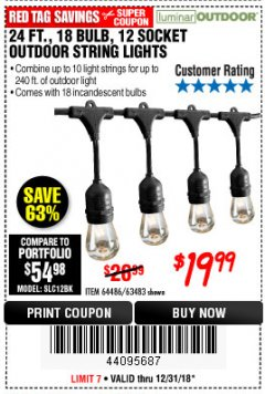 Harbor Freight Coupon 24 FT., 18 BULB, 12 SOCKET OUTDOOR STRING LIGHTS Lot No. 64486/63843/64739 Expired: 12/31/18 - $19.99