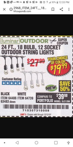 Harbor Freight Coupon 24 FT., 18 BULB, 12 SOCKET OUTDOOR STRING LIGHTS Lot No. 64486/63843/64739 Valid Thru: 12/31/19 - $19.99