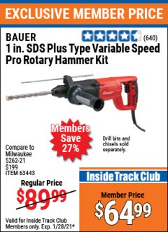 "Harbor Freight ITC Coupon 7.3 AMP, 1"" SDS PRO ROTARY HAMMER KIT Lot No. 63443/63433 Valid: 1/1/21 1/28/21 - $64.99"