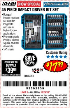 Harbor Freight Coupon HERCULES 45 PIECE IMPACT DRILL AND DRIVER BIT SET Lot No. 63383 Expired: 11/24/19 - $17.99