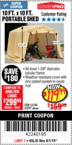 Harbor Freight Coupon COVERPRO 10 FT. X 10 FT. PORTABLE SHED Lot No. 63297 Expired: 9/1/19 - $119.99