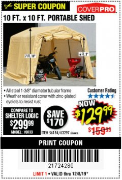 Harbor Freight Coupon COVERPRO 10 FT. X 10 FT. PORTABLE SHED Lot No. 63297 Expired: 12/8/19 - $129.99