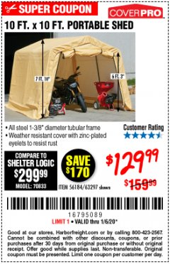 Harbor Freight Coupon COVERPRO 10 FT. X 10 FT. PORTABLE SHED Lot No. 63297 Expired: 1/6/20 - $129