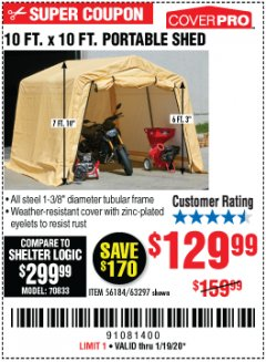 Harbor Freight Coupon COVERPRO 10 FT. X 10 FT. PORTABLE SHED Lot No. 63297 Expired: 1/19/20 - $129.99