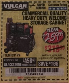 Harbor Freight Coupon COMMERCIAL QUALITY HEAVY DUTY WELDING CABINET Lot No. 63179 Expired: 2/5/19 - $259.99