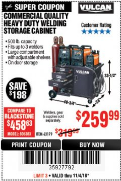 Harbor Freight Coupon COMMERCIAL QUALITY HEAVY DUTY WELDING CABINET Lot No. 63179 Expired: 11/4/18 - $259.99