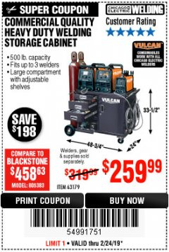 Harbor Freight Coupon COMMERCIAL QUALITY HEAVY DUTY WELDING CABINET Lot No. 63179 Valid Thru: 2/24/19 - $259.99