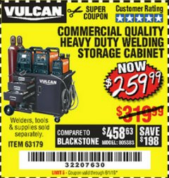 Harbor Freight Coupon COMMERCIAL QUALITY HEAVY DUTY WELDING CABINET Lot No. 63179 Valid Thru: 6/1/19 - $259.99