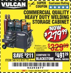 Harbor Freight Coupon VULCAN COMMERCIAL QUALITY HEAVY DUTY WELDING CABINET Lot No. 63179 Expired: 2/3/20 - $279.99