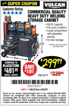 Harbor Freight Coupon VULCAN COMMERCIAL QUALITY HEAVY DUTY WELDING CABINET Lot No. 63179 Valid Thru: 6/30/20 - $299.99