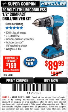 "Harbor Freight ITC Coupon HERCULES 20 VOLT LITHIUM CORDLESS 1/2"" COMPACT DRILL/DRIVER KIT Lot No. 63381 Expired: 1/10/19 - $89.99"