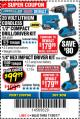 "Harbor Freight Coupon HERCULES 20 VOLT LITHIUM CORDLESS 1/2"" COMPACT DRILL/DRIVER KIT Lot No. 63381 Expired: 11/30/17 - $99.99"