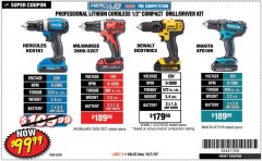 "Harbor Freight Coupon HERCULES 20 VOLT LITHIUM CORDLESS 1/2"" COMPACT DRILL/DRIVER KIT Lot No. 63381 Expired: 10/7/18 - $99.99"
