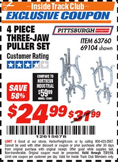 Harbor Freight ITC Coupon THREE-JAW PULLER 4 PIECE SET Lot No. 63760/69104 Expired: 7/31/18 - $24.99