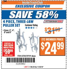 Harbor Freight ITC Coupon THREE-JAW PULLER 4 PIECE SET Lot No. 63760/69104 Expired: 11/20/18 - $24.99