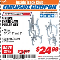 Harbor Freight ITC Coupon THREE-JAW PULLER 4 PIECE SET Lot No. 63760/69104 Expired: 10/31/19 - $24.99