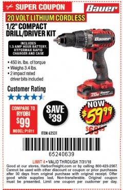 "Harbor Freight Coupon BAUER 20 VOLT CORDLESS 1/2"" COMPACT DRILL/DRIVER KIT Lot No. 63531 Expired: 7/31/18 - $59.99"