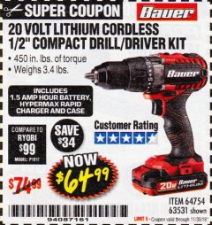 "Harbor Freight Coupon BAUER 20 VOLT CORDLESS 1/2"" COMPACT DRILL/DRIVER KIT Lot No. 63531 Expired: 11/30/18 - $64.99"