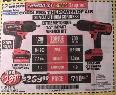 "Harbor Freight Coupon EARTHQUAKE XT 20 VOLT CORDLESS EXTREME TORQUE 1/2"" IMPACT WRENCH KIT Lot No. 63852/63537/64195 Expired: 2/5/19 - $239.99"