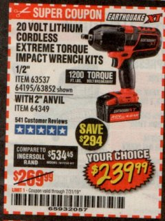 "Harbor Freight Coupon EARTHQUAKE XT 20 VOLT CORDLESS EXTREME TORQUE 1/2"" IMPACT WRENCH KIT Lot No. 63852/63537/64195 Expired: 7/31/19 - $239.99"