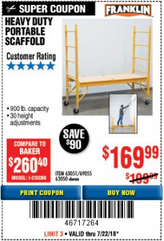 Harbor Freight Coupon HEAVY DUTY PORTABLE SCAFFOLD Lot No. 63050/63051/69055/98979 Expired: 7/22/18 - $169.99
