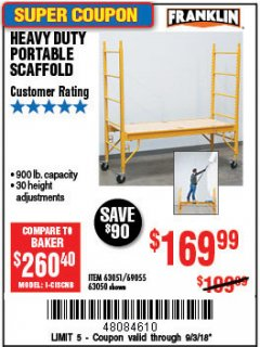 Harbor Freight Coupon HEAVY DUTY PORTABLE SCAFFOLD Lot No. 63050/63051/69055/98979 Expired: 9/3/18 - $169.99