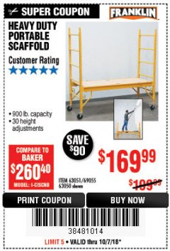 Harbor Freight Coupon HEAVY DUTY PORTABLE SCAFFOLD Lot No. 63050/63051/69055/98979 Expired: 10/7/18 - $169.99