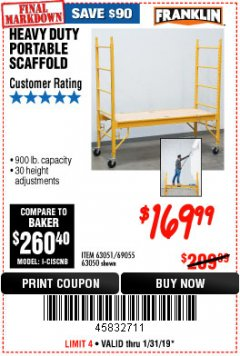 Harbor Freight Coupon HEAVY DUTY PORTABLE SCAFFOLD Lot No. 63050/63051/69055/98979 Expired: 1/31/19 - $169.99