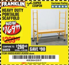 Harbor Freight Coupon HEAVY DUTY PORTABLE SCAFFOLD Lot No. 63050/63051/69055/98979 Expired: 5/4/19 - $169.99