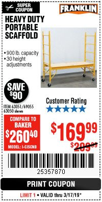 Harbor Freight Coupon HEAVY DUTY PORTABLE SCAFFOLD Lot No. 63050/63051/69055/98979 Expired: 3/17/19 - $169.99