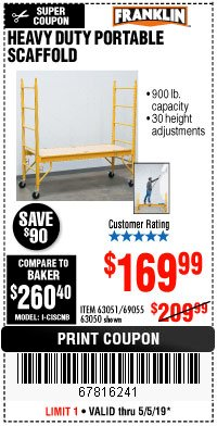 Harbor Freight Coupon HEAVY DUTY PORTABLE SCAFFOLD Lot No. 63050/63051/69055/98979 Expired: 5/5/19 - $169.99
